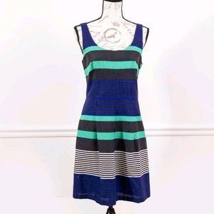 Loft sleeveless turquoise striped dress, size 6